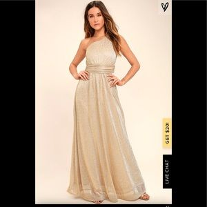 Lulus luminous grace gold one shoulder maxi dress